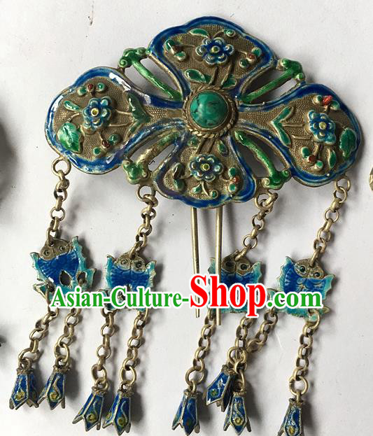 Chinese Traditional Ancient Blueing Butterfly Tassel Hair Clip Hanfu Hairpins Hair Accessories for Women