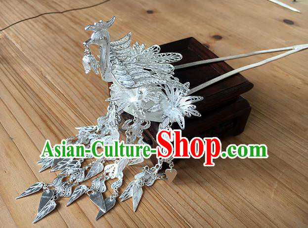 Chinese Traditional Ancient Sliver Tassel Hair Clip Hanfu Hairpins Hair Accessories for Women