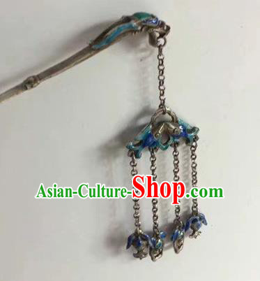 Chinese Traditional Ancient Bride Sliver Hair Clip Hanfu Blueing Dragon Hairpins Hair Accessories for Women