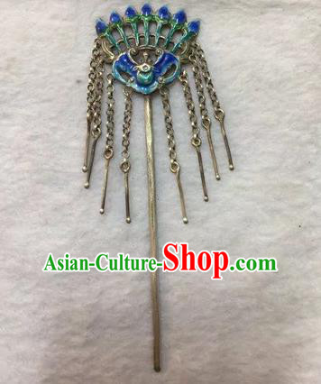 Chinese Traditional Ancient Bride Tassel Hair Clip Hanfu Blueing Bat Hairpins Hair Accessories for Women