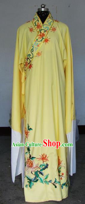 Chinese Traditional Shaoxing Opera Embroidered Chrysanthemum Yellow Robe Peking Opera Niche Costumes for Adults