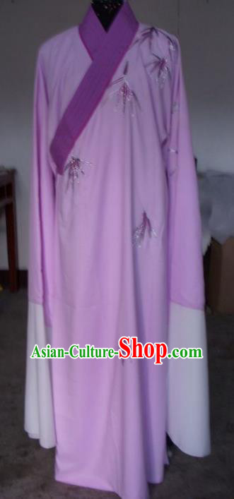 Chinese Traditional Shaoxing Opera Embroidered Purple Robe Peking Opera Niche Costumes for Adults