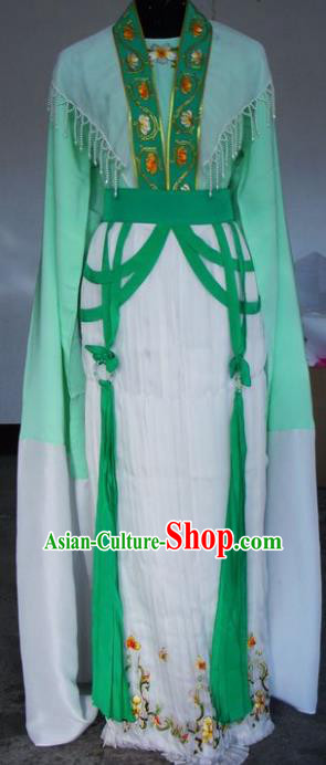 Chinese Traditional Beijing Opera Actress Green Dress China Peking Opera Embroidered Costumes for Adults