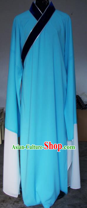Chinese Traditional Shaoxing Opera Blue Robe Peking Opera Niche Costumes for Adults