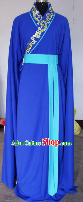 Chinese Traditional Shaoxing Opera Embroidered Blue Robe Peking Opera Niche Costumes for Adults