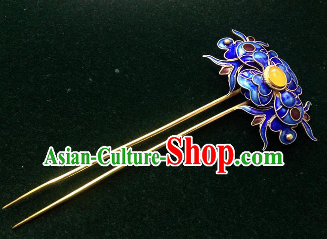 Chinese Traditional Ancient Cloisonne Hairpins Hair Accessories Blueing Hair Clip for Women