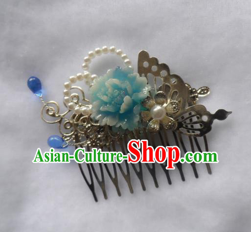 Chinese Traditional Hair Accessories Ancient Bride Hairpins Blue Peony Hair Comb for Women