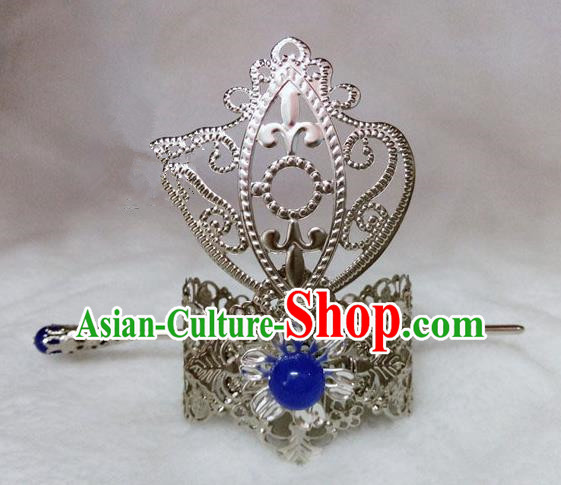 Chinese Traditional Ancient Prince Blue Bead Hairdo Crown Hair Accessories Swordsman Hairpins for Men