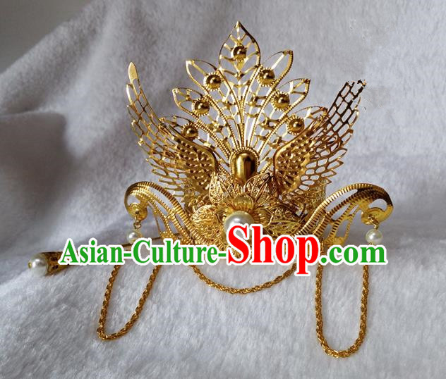 Chinese Traditional Hair Accessories Ancient Bride Hairpins White Beads Phoenix Coronet for Women