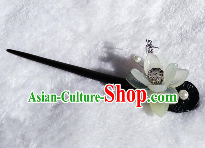 Chinese Traditional Hair Accessories Ancient Bride Lotus Hairpins Ebony Hair Clip for Women