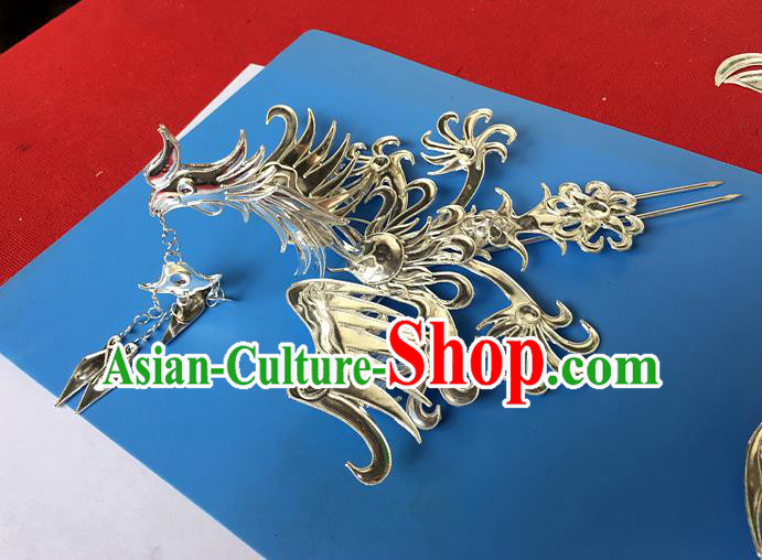 Chinese Traditional Ancient Bride Frontlet Phoenix Hair Clip Hanfu Hairpins Hair Accessories for Women