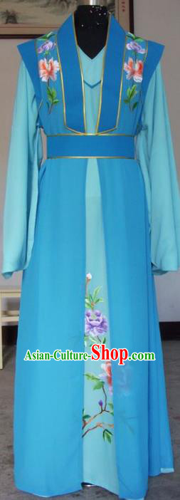 Chinese Traditional Shaoxing Opera Scholar Blue Clothing Peking Opera Niche Costumes for Adults