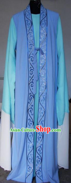 Chinese Traditional Shaoxing Opera Scholar Embroidered Blue Robe Peking Opera Niche Costumes for Adults