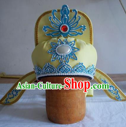 Chinese Traditional Beijing Opera Taoist Priest Scholar Yellow Hats for Men