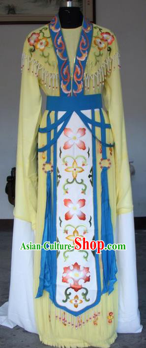 Chinese Traditional Beijing Opera Actress Embroidered Yellow Dress China Peking Opera Princess Costumes for Adults