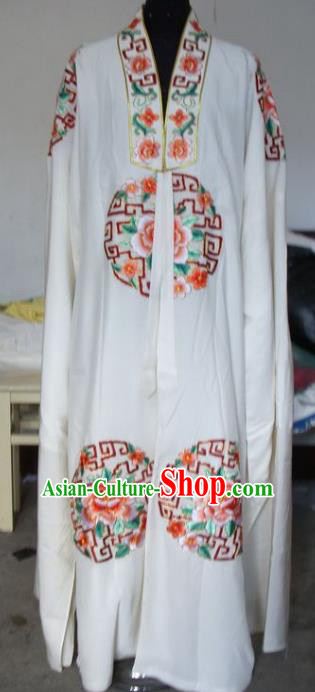 Chinese Traditional Shaoxing Opera Scholar White Robe Peking Opera Niche Embroidered Costumes for Adults