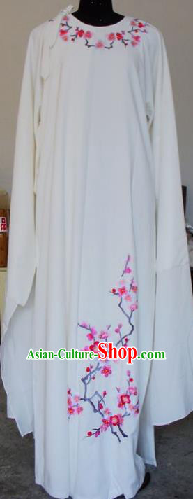 Chinese Traditional Shaoxing Opera Scholar White Robe Peking Opera Niche Embroidered Wintersweet Costumes for Adults