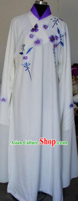 Chinese Traditional Shaoxing Opera Niche Embroidered White Robe Clothing Peking Opera Scholar Costume for Adults