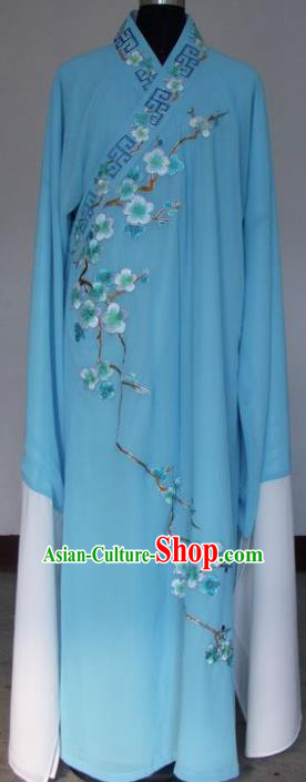 Chinese Traditional Shaoxing Opera Niche Embroidered Wintersweet Blue Silk Robe Clothing Peking Opera Scholar Costume for Adults