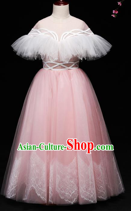 Children Modern Dance Costume Compere Full Dress Stage Piano Performance Pink Veil Dress for Kids