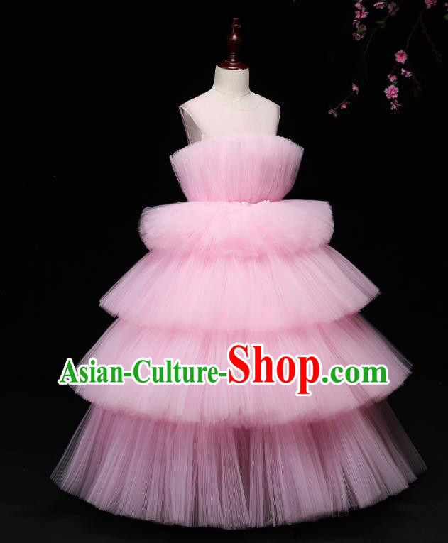 Children Modern Dance Costume Compere Full Dress Stage Piano Performance Pink Veil Bubble Dress for Kids