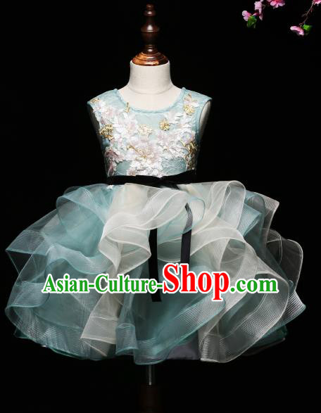 Children Modern Dance Costume Compere Green Full Dress Stage Piano Performance Princess Dress for Kids