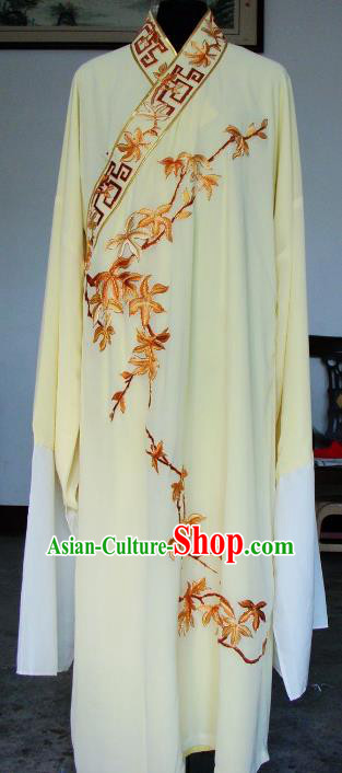 Chinese Traditional Shaoxing Opera Niche Yellow Robe Peking Opera Scholar Embroidered Maple Leaf Costume for Adults
