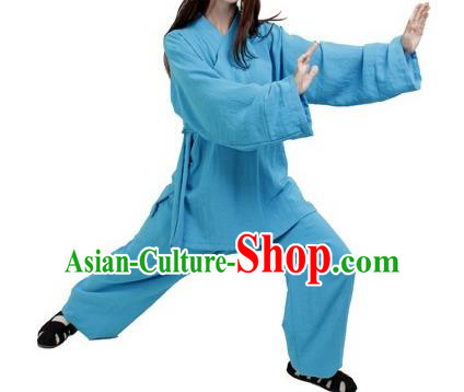 Chinese Traditional Martial Arts Costumes Tai Chi Kung Fu Blue Suits for Women