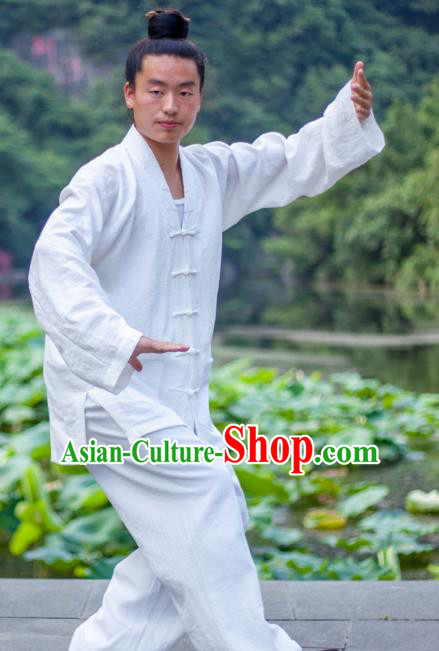 Chinese Traditional Martial Arts Costumes Tai Chi Taoist Kung Fu White Suits for Men