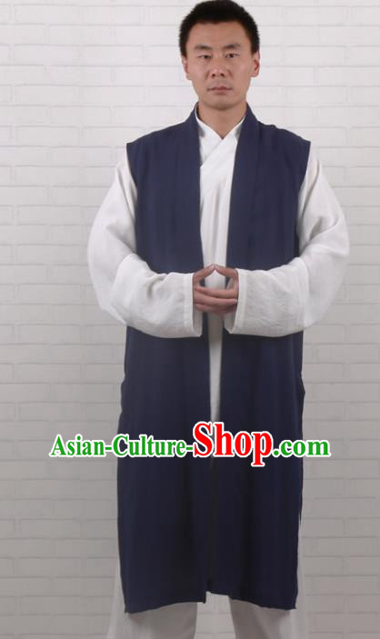 Chinese Traditional Martial Arts Costume Tai Chi Taoist Kung Fu Navy Vest for Men