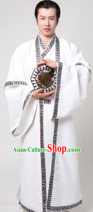 Chinese Traditional Martial Arts Costume Kung Fu Taoist White Robe for Men