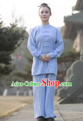 Chinese Traditional Martial Arts Costumes Tai Chi Kung Fu Light Blue Suits for Women