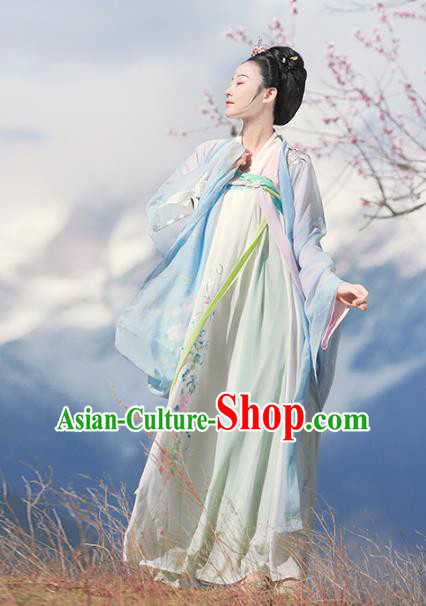 Chinese Ancient Tang Dynasty Palace Lady Hanfu Dress Embroidered Costumes Complete Set for Women