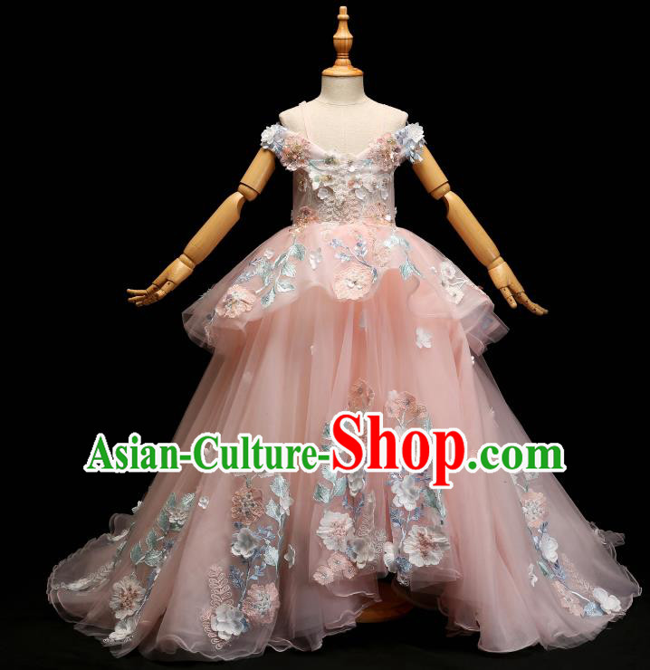 Children Modern Dance Costume Compere Pink Lace Trailing Full Dress Stage Piano Performance Princess Dress for Kids