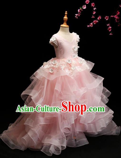 Children Modern Dance Costume Compere Pink Bubble Full Dress Stage Piano Performance Princess Dress for Kids
