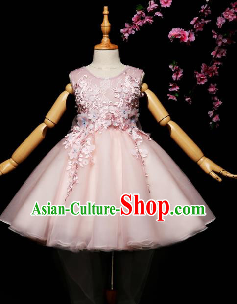 Children Modern Dance Costume Compere Pink Bubble Short Full Dress Stage Piano Performance Princess Dress for Kids