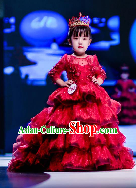 Children Modern Dance Costume Compere Full Dress Stage Piano Performance Princess Red Trailing Dress for Kids