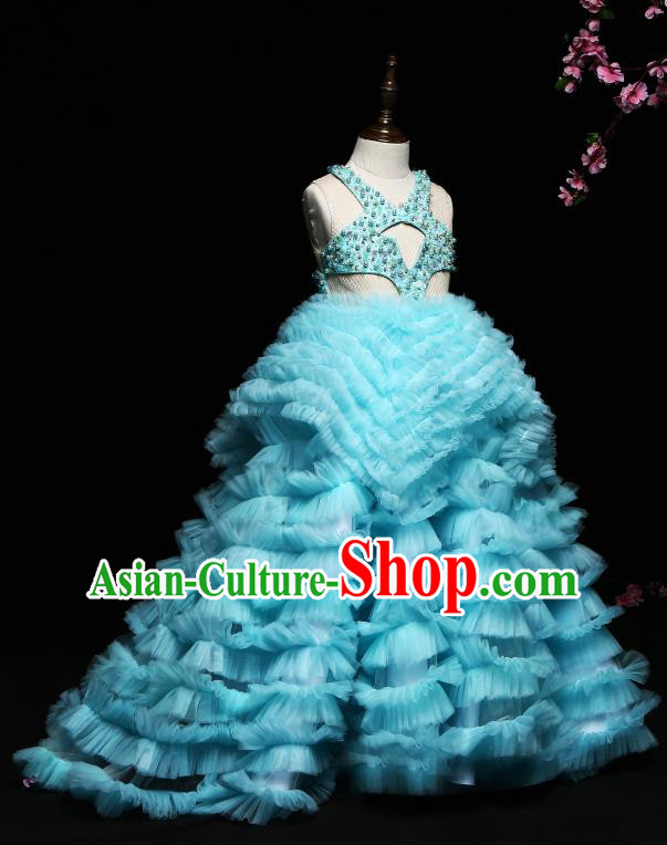 Children Modern Dance Costume Compere Blue Trailing Full Dress Stage Piano Performance Princess Dress for Kids