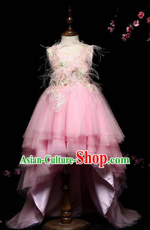 Children Modern Dance Costume Compere Pink Veil Trailing Full Dress Stage Piano Performance Princess Dress for Kids