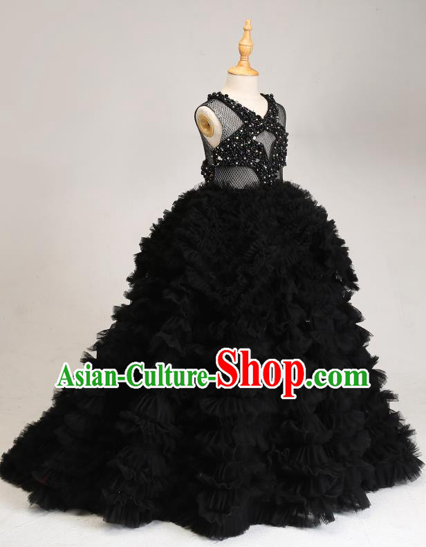 Children Modern Dance Costume Compere Black Trailing Full Dress Stage Piano Performance Princess Dress for Kids