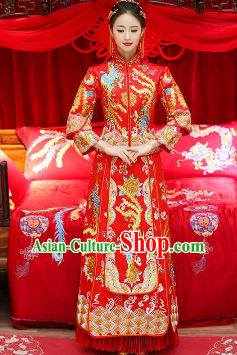 Top Grade Chinese Traditional Wedding Costumes Embroidered Phoenix Xiuhe Suits Bride Toast Red Dress for Women