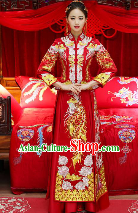 Top Grade Chinese Traditional Wedding Costumes Bride Embroidered Phoenix Xiuhe Suits for Women