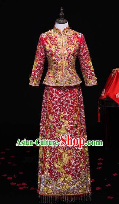 Top Grade Chinese Traditional Wedding Costumes Longfeng Flown Bride Embroidered Xiuhe Suits for Women