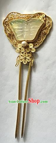 Chinese Traditional Ancient Jade Hairpins Hair Accessories Butterfly Hair Clip for Women