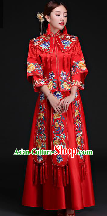Chinese Traditional Wedding Costumes Ancient Longfeng Flown Bride Embroidered Peony Xiuhe Suits for Women