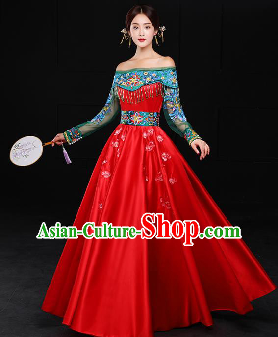 Chinese Traditional Embroidered Wedding Costumes Ancient Bride Xiuhe Suits Dress for Women