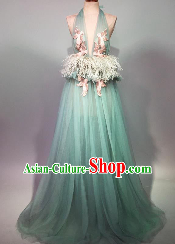 Top Grade Stage Performance Customized Costume Models Catwalks Green Full Dress for Women
