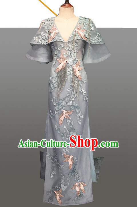 Top Grade Stage Performance Customized Costume Models Catwalks Grey Full Dress for Women