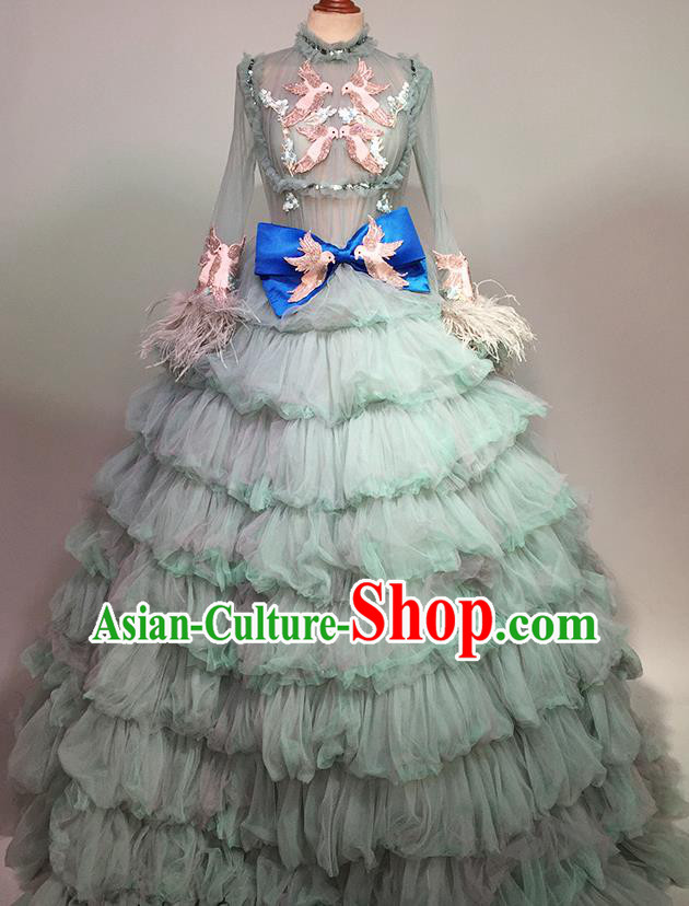 Top Grade Stage Performance Customized Costume Models Catwalks Green Bubble Full Dress for Women