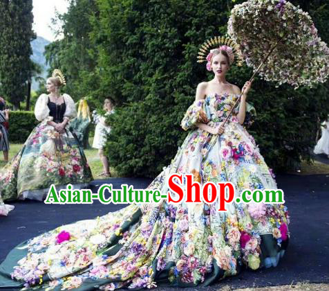 Top Grade Stage Performance Palace Customized Costume Models Catwalks Full Dress for Women
